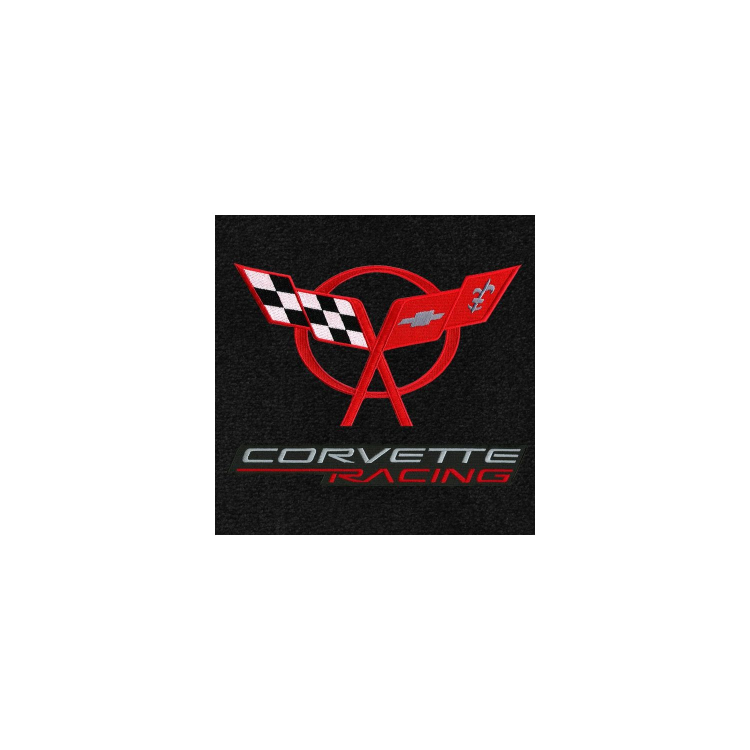 Lloyd Mats Classic Loop Black Front Floor Mats For Corvette C5 With C5 Red Logo Corvette Racing Silver Red On Black Applique