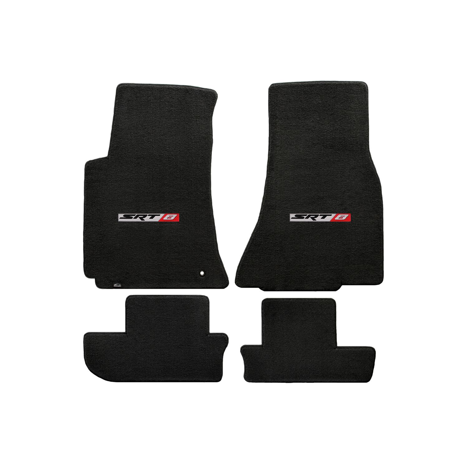 Challenger 2008-2010 2Pc Car Floor Mats Carpet Black Ebony Velourtex Dodge Logo