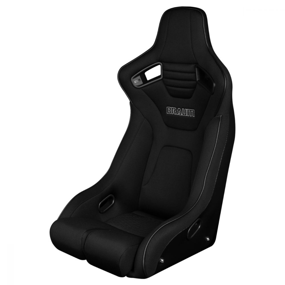 Braum ® - Black Cloth ELITE-R Series Fixed Back Racing Seat With Black Piping (BRR1R-BKBS)