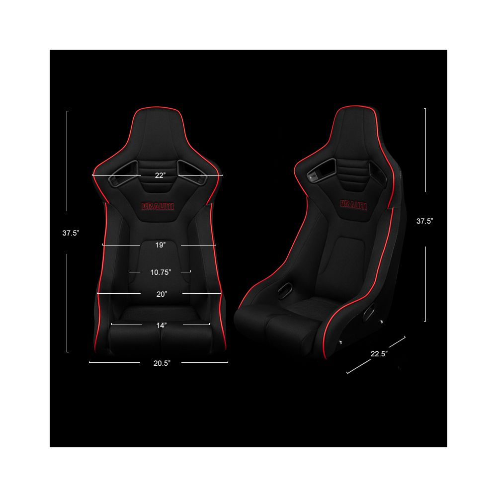 Braum ® - Black Cloth ELITE-R Series Fixed Back Racing Seat With Red Piping (BRR1R-BKRS)