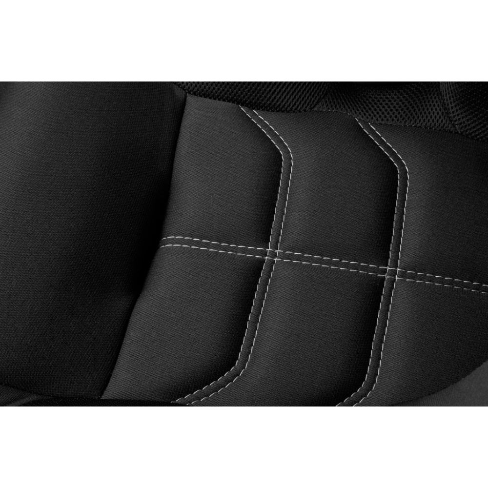 Braum ® - Black Cloth FIA Approved Fixed Back FALCON X Series Racing Seat With White Piping (BRR8-BFWP)