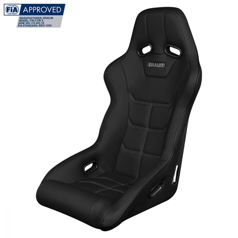 Braum ® - Black Ultra Grip Fabric FIA Approved Fixed Back FALCON X Series Racing Seat (BRR8-BKUS)