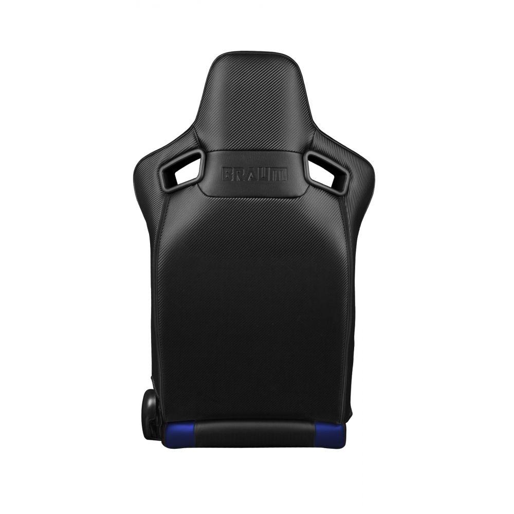 Braum ® - Pair of Black and Blue Leatherette Carbon Fiber Mixed Elite Series Racing Seats (BRR1-BKBU)