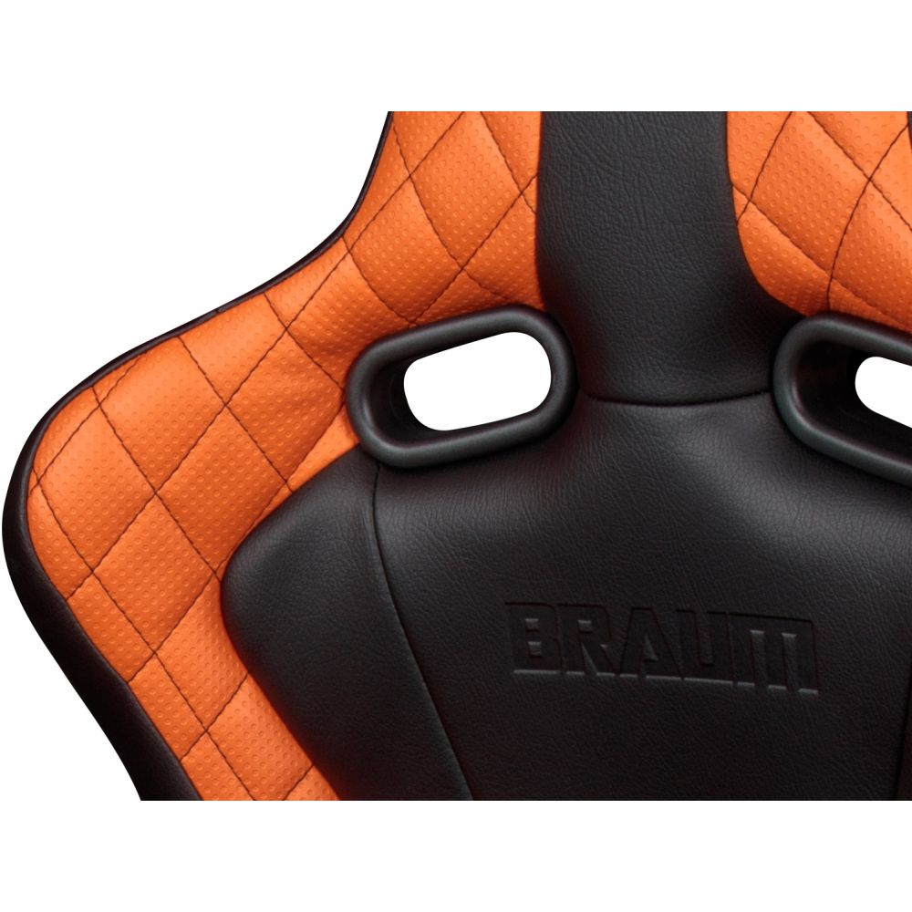 Braum ® - Pair of Black and Orange Venom Series Racing Seats with Black Stitches ★★ EXCLUSIVE LIMITED EDITION ★★ (BRR7-BDBS)