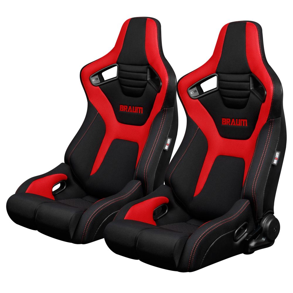 Braum ® - Pair of Black And Red Cloth ELITE-R Series Racing Seats with Red Stitches (BRR1R-BFRD)