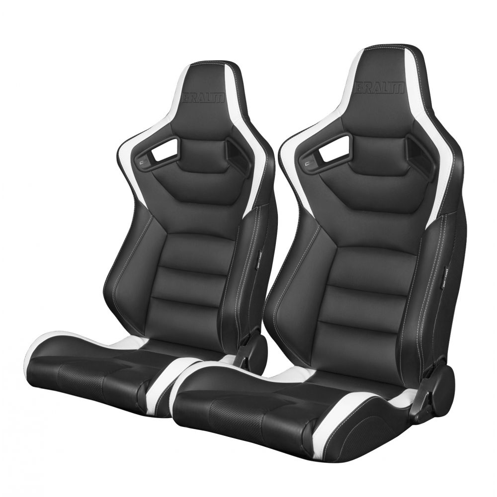 Braum ® - Pair of Black and White Leatherette Carbon Fiber Mixed Elite Series Racing Seats (BRR1-BKWW)