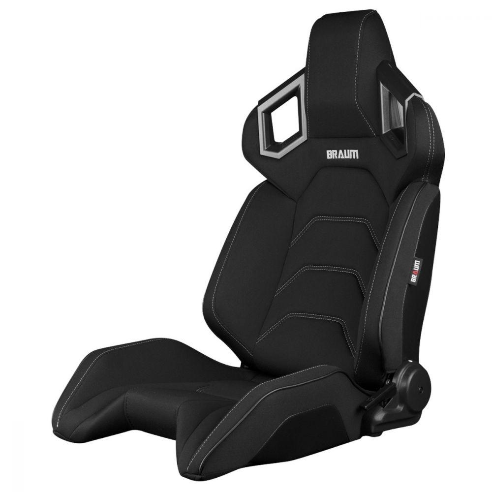 Braum ® - Pair of Black Cloth ALPHA-X Series Racing Seats With Grey Stitching (BRR5-BFGS)