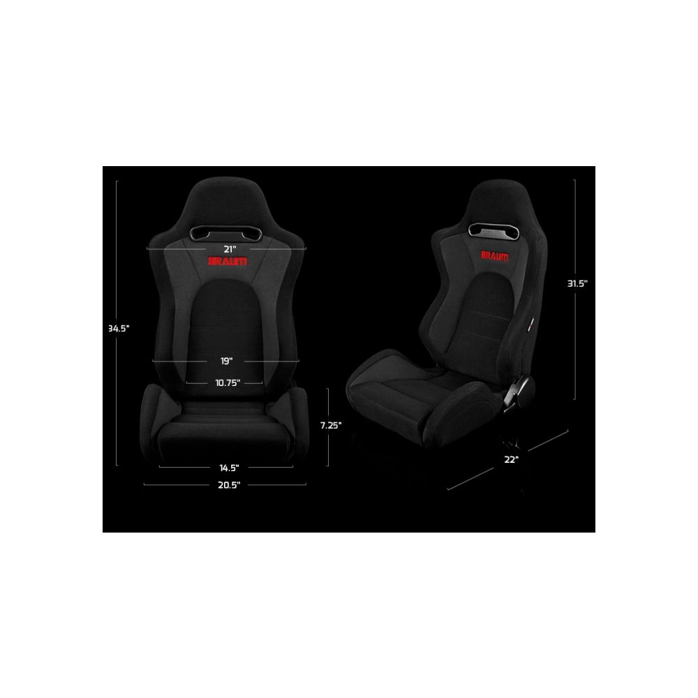 Braum ® - Pair of Black Cloth and Leatherette Defender Series Racing Seats With Red Accent Stripe and Stitches (BRR4-BKRS)
