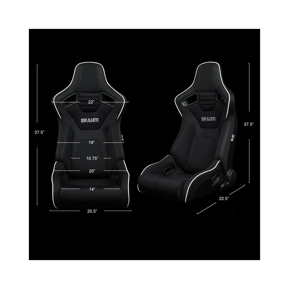 Braum ® - Pair of Black Cloth ELITE-R Series Racing Seats With Grey Stitches And White Piping (BRR1R-BFWP)