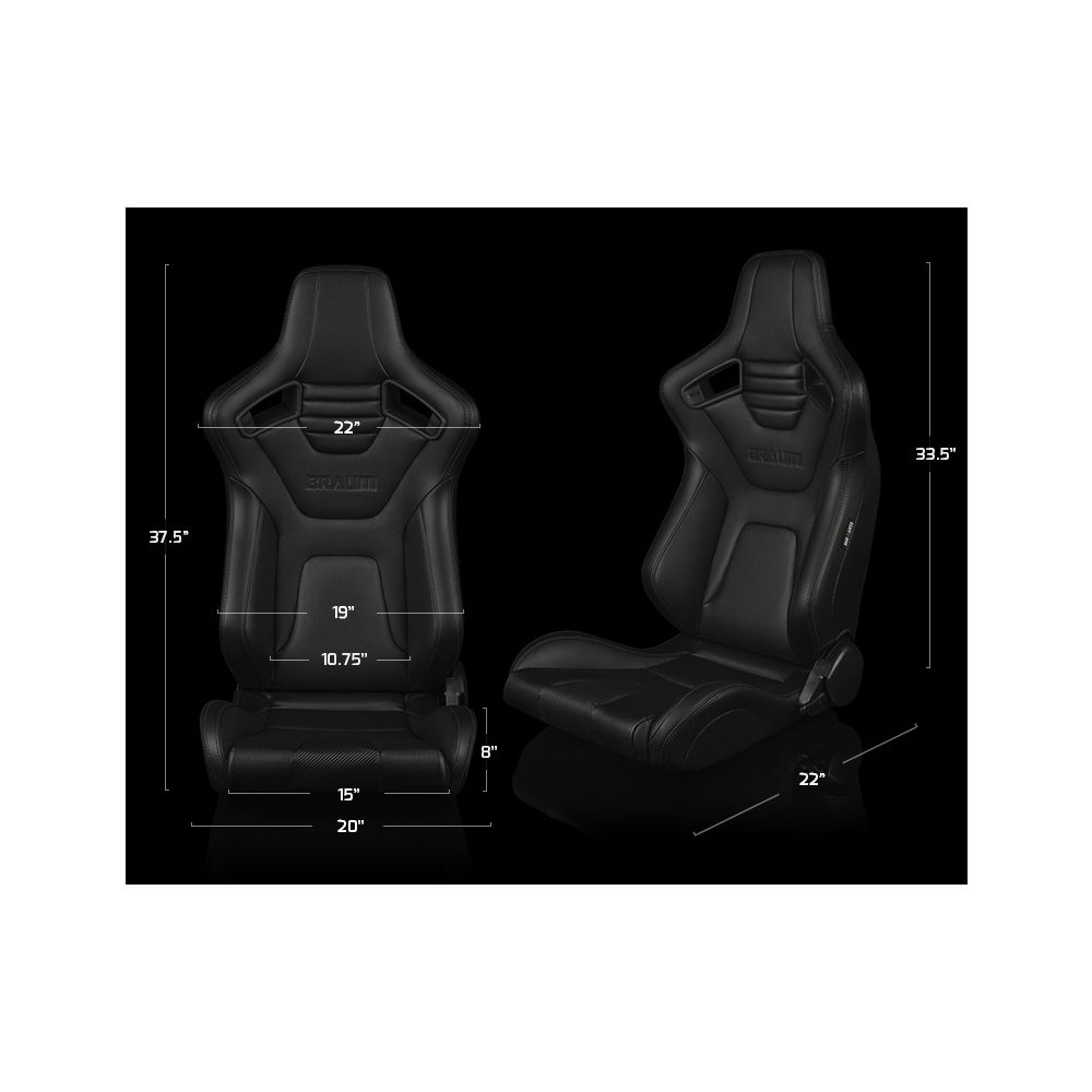 Braum ® - Pair of Black Diamond Leatherette ELITE-X Series Racing Seats with Black Piping and Grey Stitches (BRR1X-BDDGS)