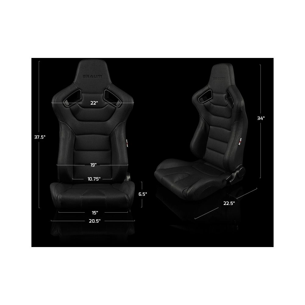 Braum ® - Pair of Black Diamond Leatherette ELITE-X Series Racing Seats with Red Stitches (BRR1X-BDRS)
