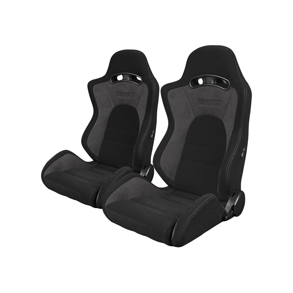 Braum ® - Pair of Black-Grey Fabric Microsuede Mixed S8 Series V2 Racing Seats with Grey Stitches (BRR3-BKGY2)