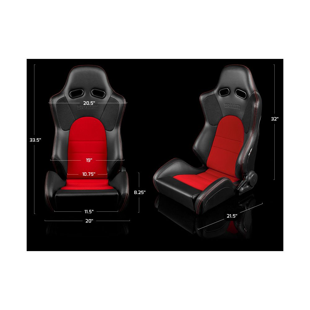 Braum ® - Pair of Black Leatherette Advan Series Racing Seats with Blue Fabric Inserts and Blue Stitches (BRR2-BKBU)