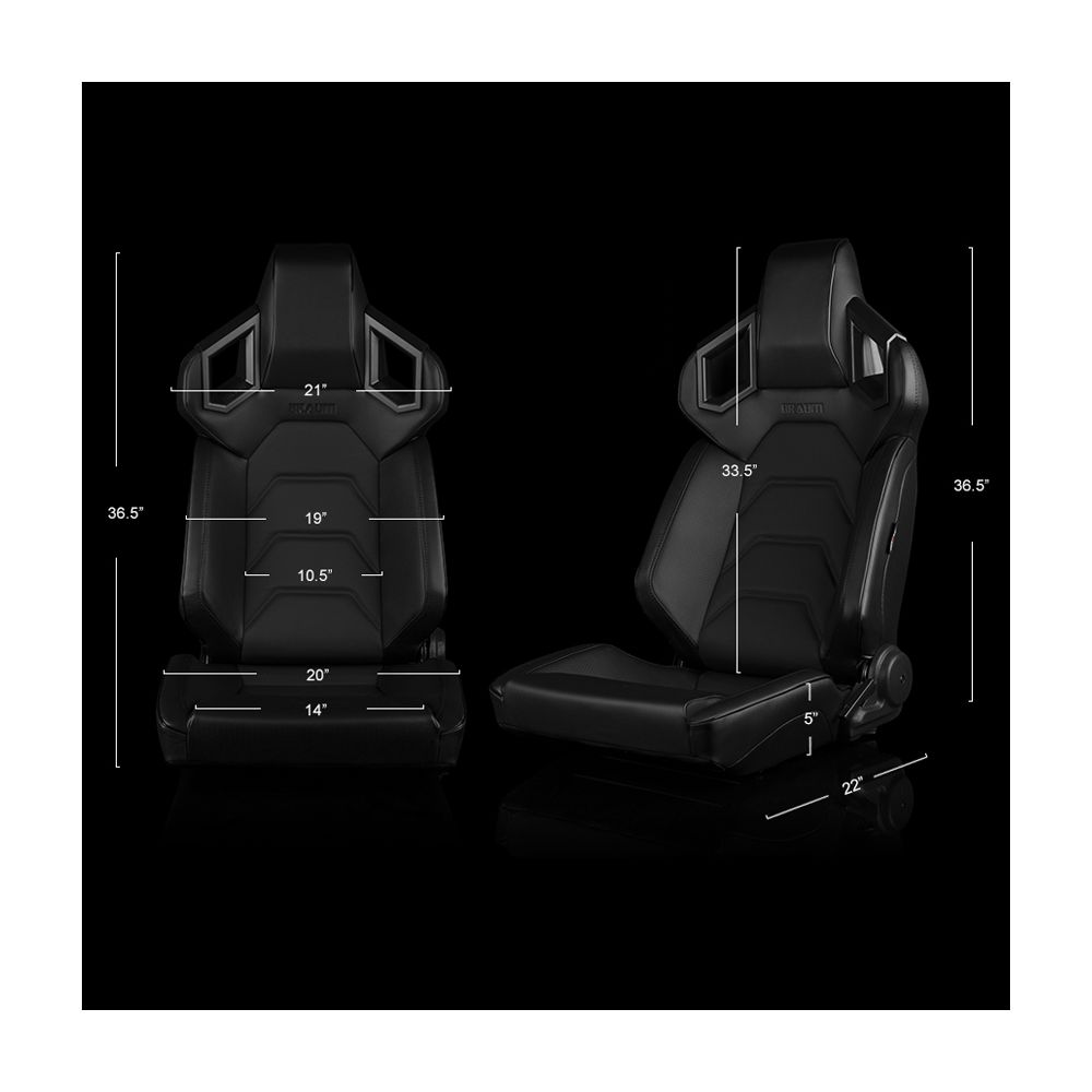 Braum ® - Pair of Black Leatherette ALPHA-X Series Low Base Version Racing Seats With Black Stitching (BRR5-BKBS)