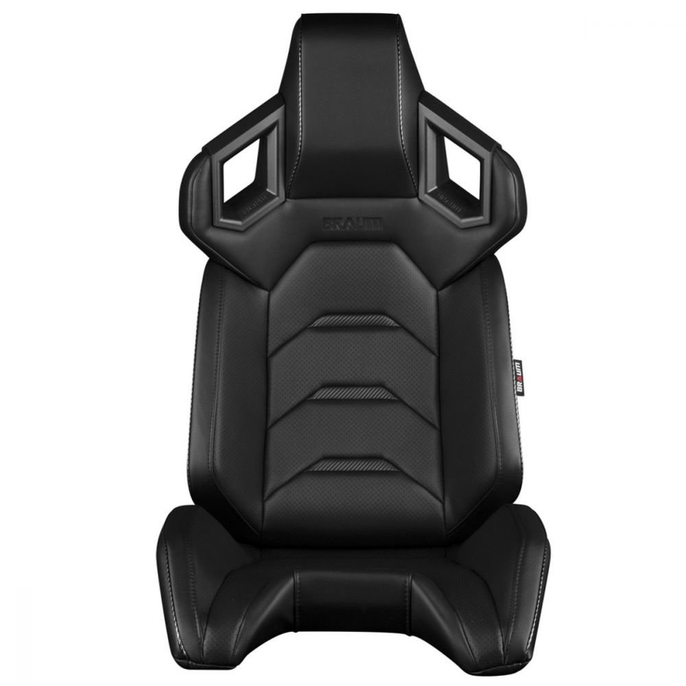 Braum ® - Pair of Black Leatherette ALPHA-X Series Racing Seats With Black and White Stitching (BRR5-BKBK)