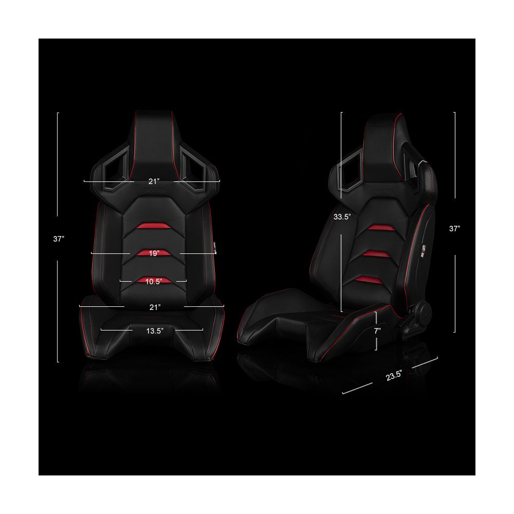 Braum ® - Pair of Black Leatherette ALPHA-X Series Racing Seats With Red Stitching and Piping (BRR5-BKRD)