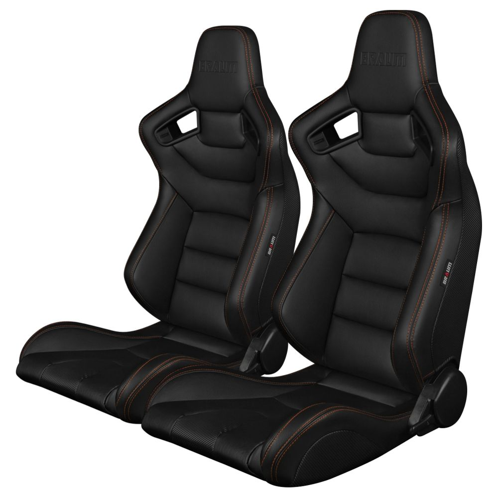 Braum ® - Pair of Black Leatherette Carbon Fiber Mixed Elite Series Racing Seats with Orange Stitches (BRR1-BKGS)