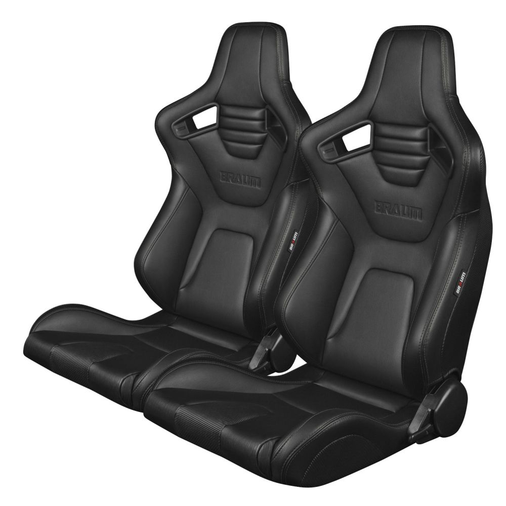 Braum ® - Pair of Black Leatherette Carbon Fiber Mixed Elite-X Series Racing Seats with Black Stitches (BRR1X-BKBS)