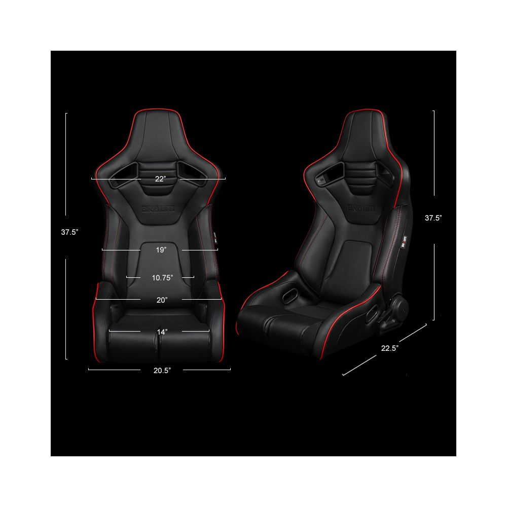 Braum ® - Pair of Black Leatherette ELITE-R Series Racing Seats with Red Stitches And Piping (BRR1R-BKRP)