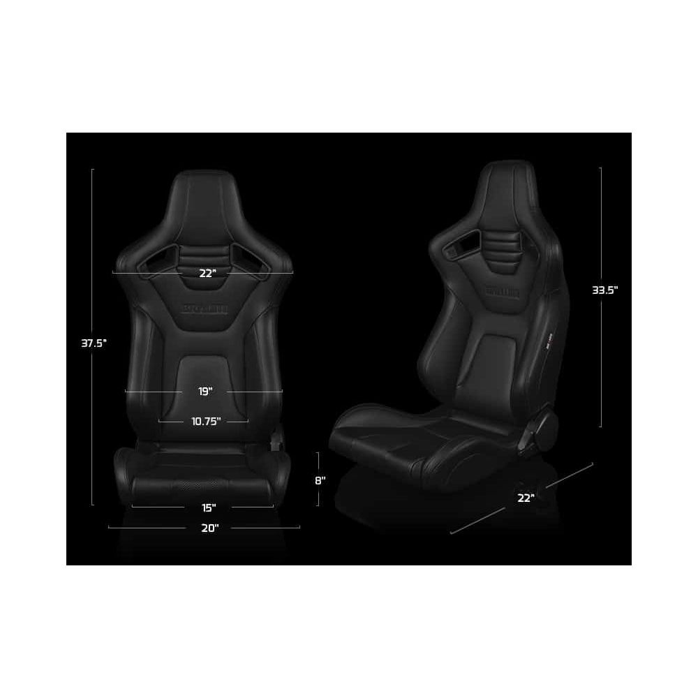 Braum ® - Pair of Black Leatherette Elite-X Series Racing Seats Version 2 with Red Stitches (BRR1X-BKRS2)