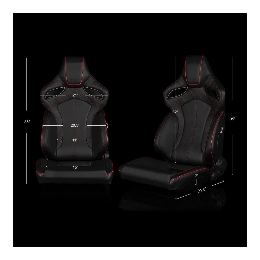 Braum ® - Pair of Black Leatherette ORUE Series Diamond Edition Racing Seats With Red Stitching and Piping (BRR6-BDRS)