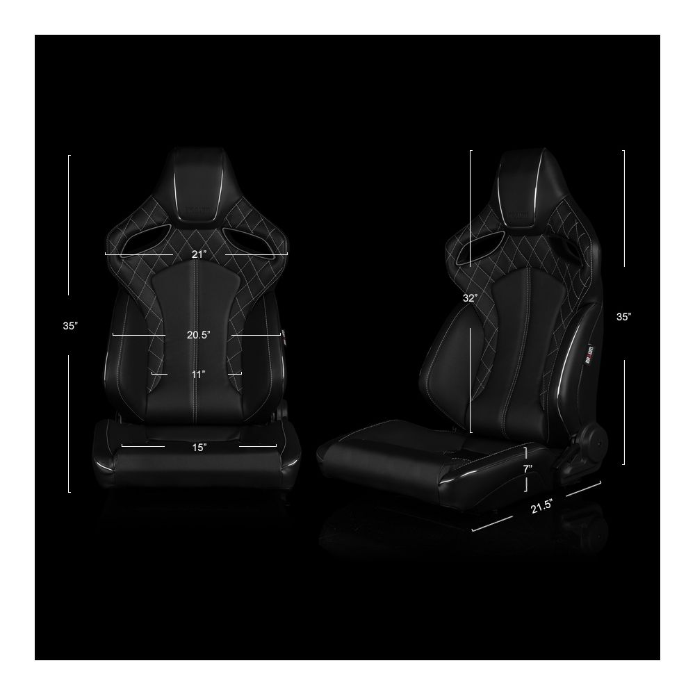 Braum ® - Pair of Black Leatherette ORUE Series Diamond Edition Racing Seats With White Stitching and Piping (BRR6-BDWS)