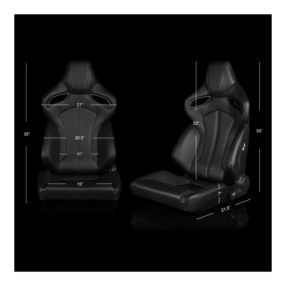 Braum ® - Pair of Black Leatherette ORUE Series Racing Seats With Black Stitching and Piping (BRR6-BKBS)