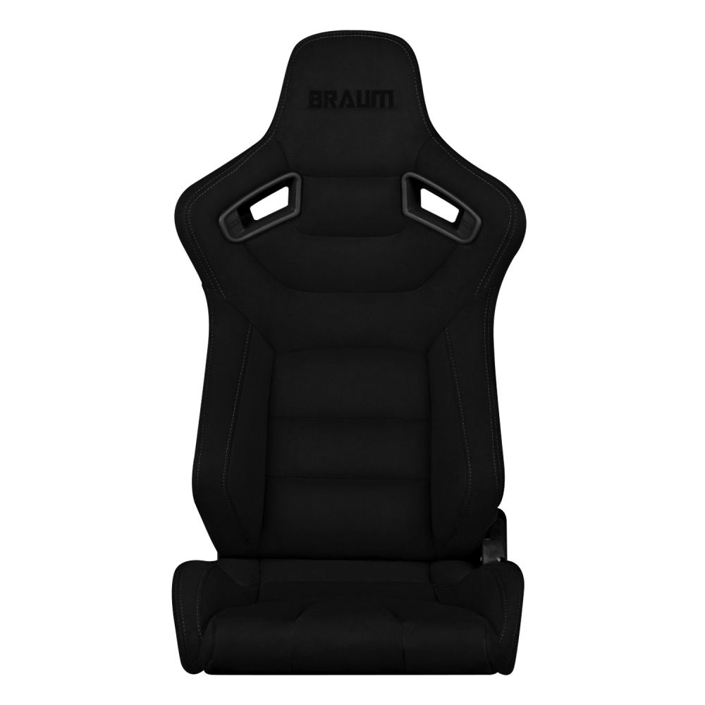 Braum ® - Pair of Black Suede Elite Series Racing Seats With Gray Stitches (BRR1-BKSD)