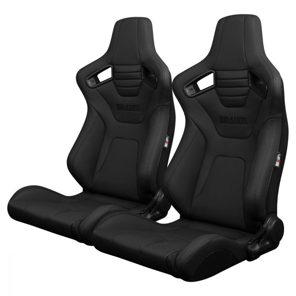 Braum ® - Pair of  Black Ultra Grip Fabric Elite-X Series Racing Seats With Black Stitching (BRR1X-BKUS)