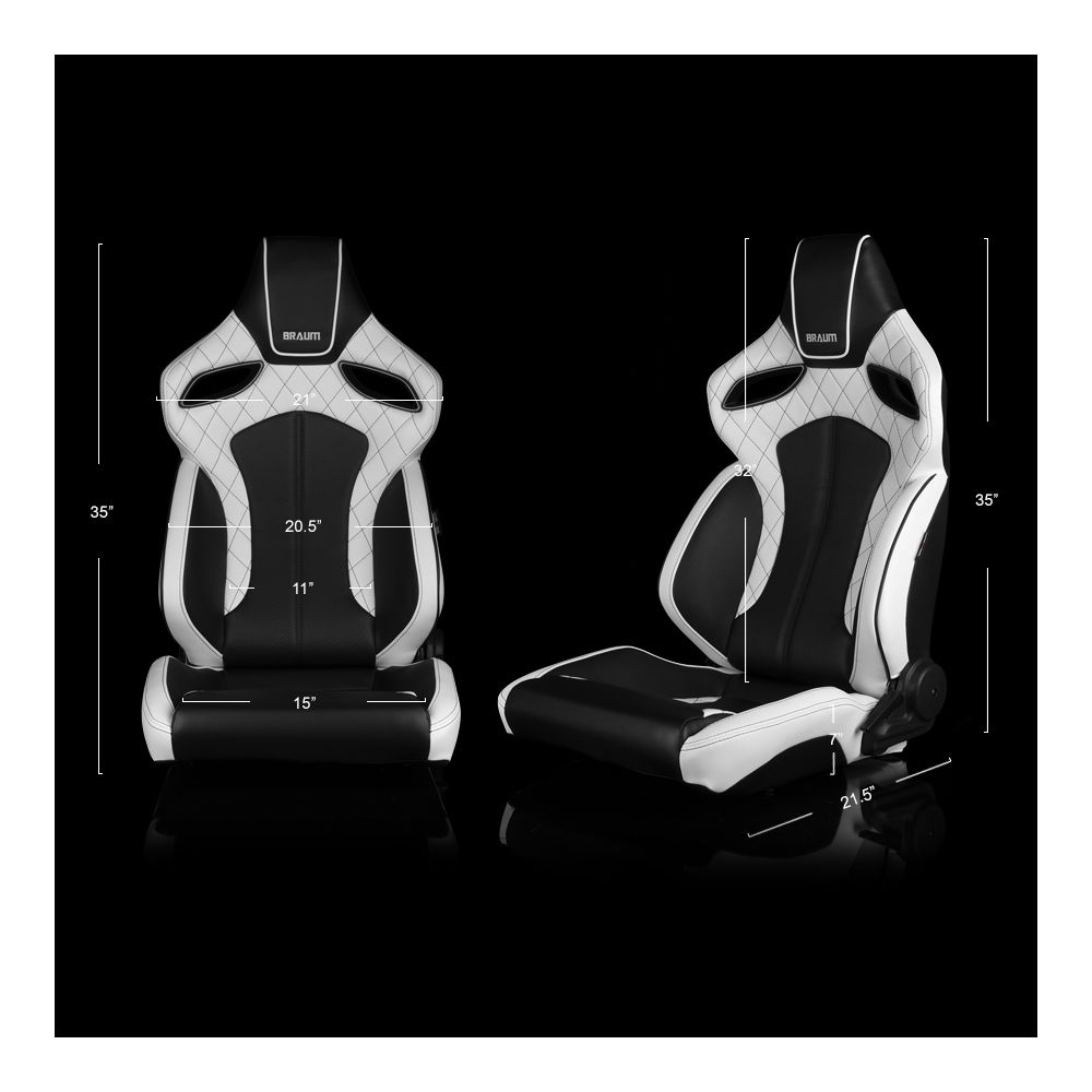 Braum ® - Pair of Black/White Leatherette ORUE Series Racing Seats Diamond Ed. With Black Stitching and Black/White Piping (BRR6-WDBS)