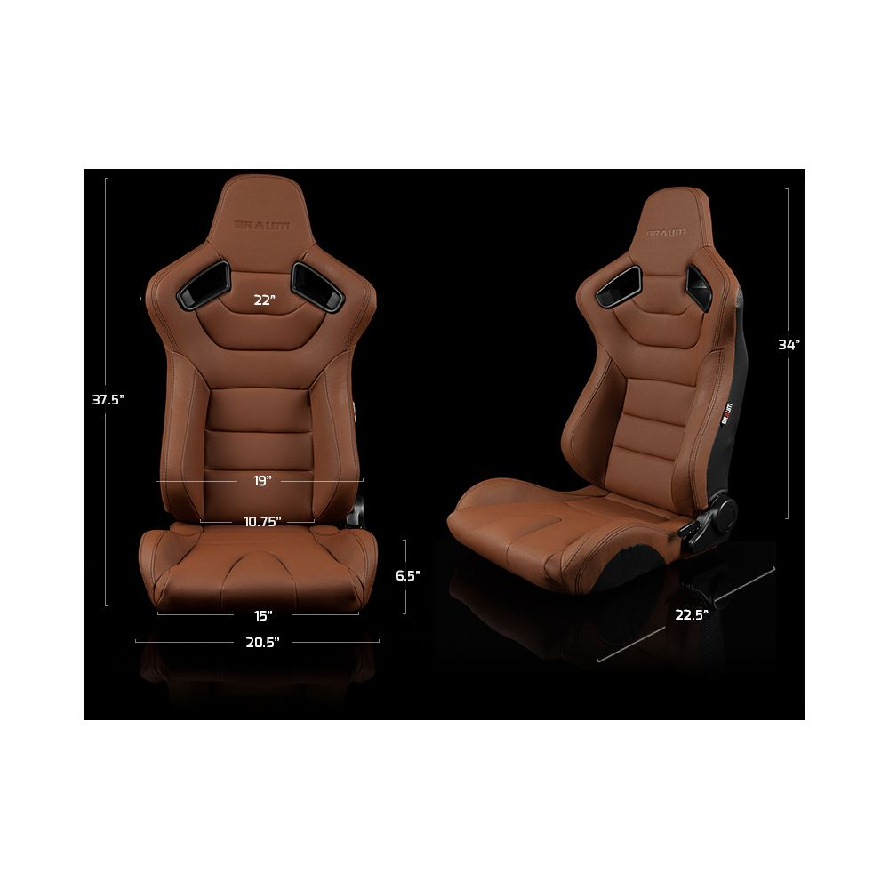 Braum ® - Pair of Brown Leatherette Carbon Fiber Mixed Elite Series Racing Seats (BRR1-CPBS)