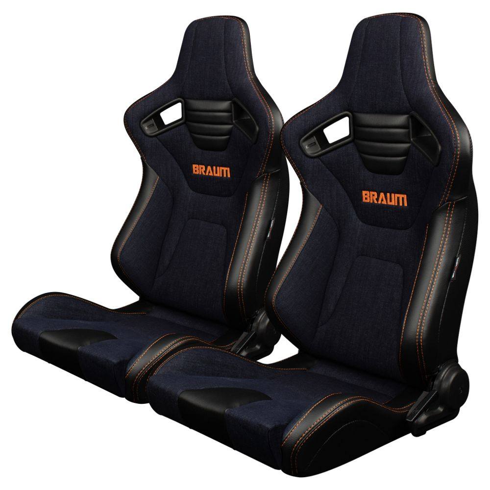 Braum ® - Pair of Navy Denim ELITE-X Series Racing Seats With Leatherette Inserts and Orange Stitching (BRR1X-NDOS)