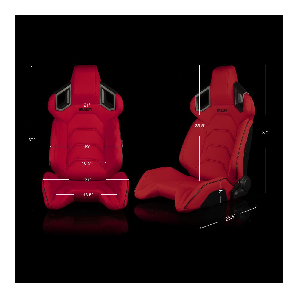 Braum ® - Pair of Red Cloth ALPHA-X Series Racing Seats With Black Stitching and Piping (BRR5-RFBS)