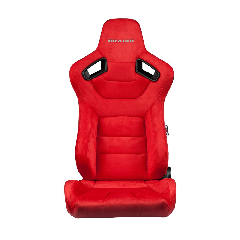 Braum ® - Pair of Red Microsuede Carbon Fiber Mixed Elite Series Racing Seats (BRR1-RSBS)