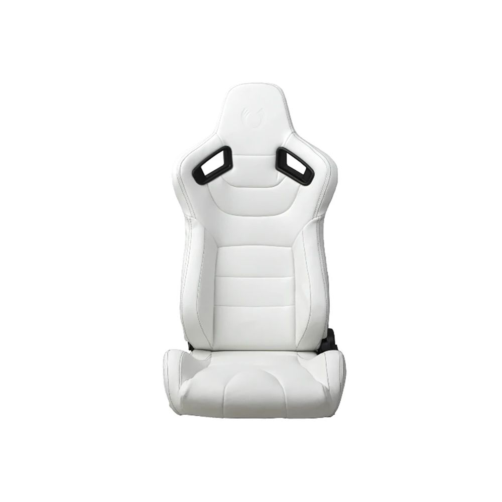 Cipher Auto ® - White Leatherette AR-9 Revo Racing Seats with Black Stitching (CPA2009PCFWH-BK)