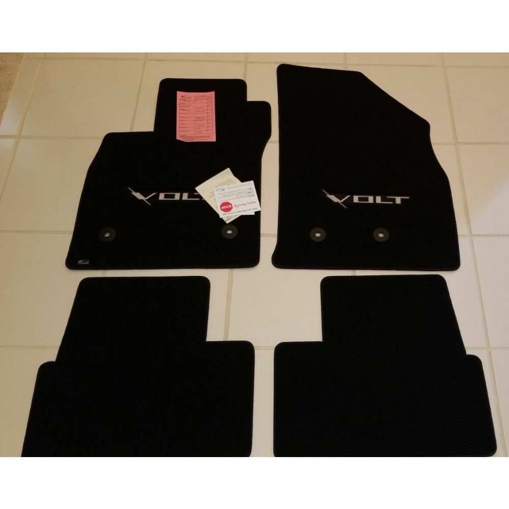Lloyd Mats ® - Classic Loop Black 4PC Floor Mats For Chevrolet Volt with Silver VOLT Applique