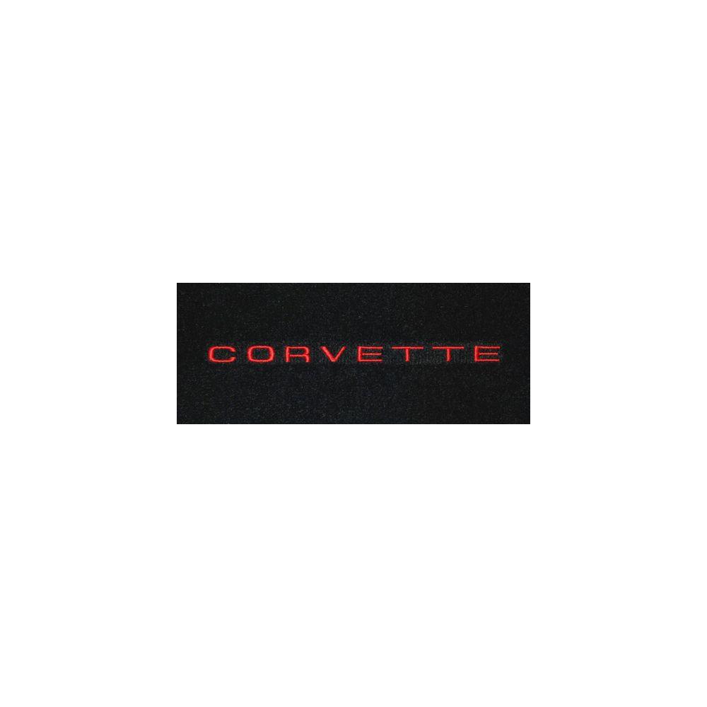 Lloyd Mats ® - Classic Loop Black Front Floor Mats For Corvette C3 with Corvette Red Script Embroidery