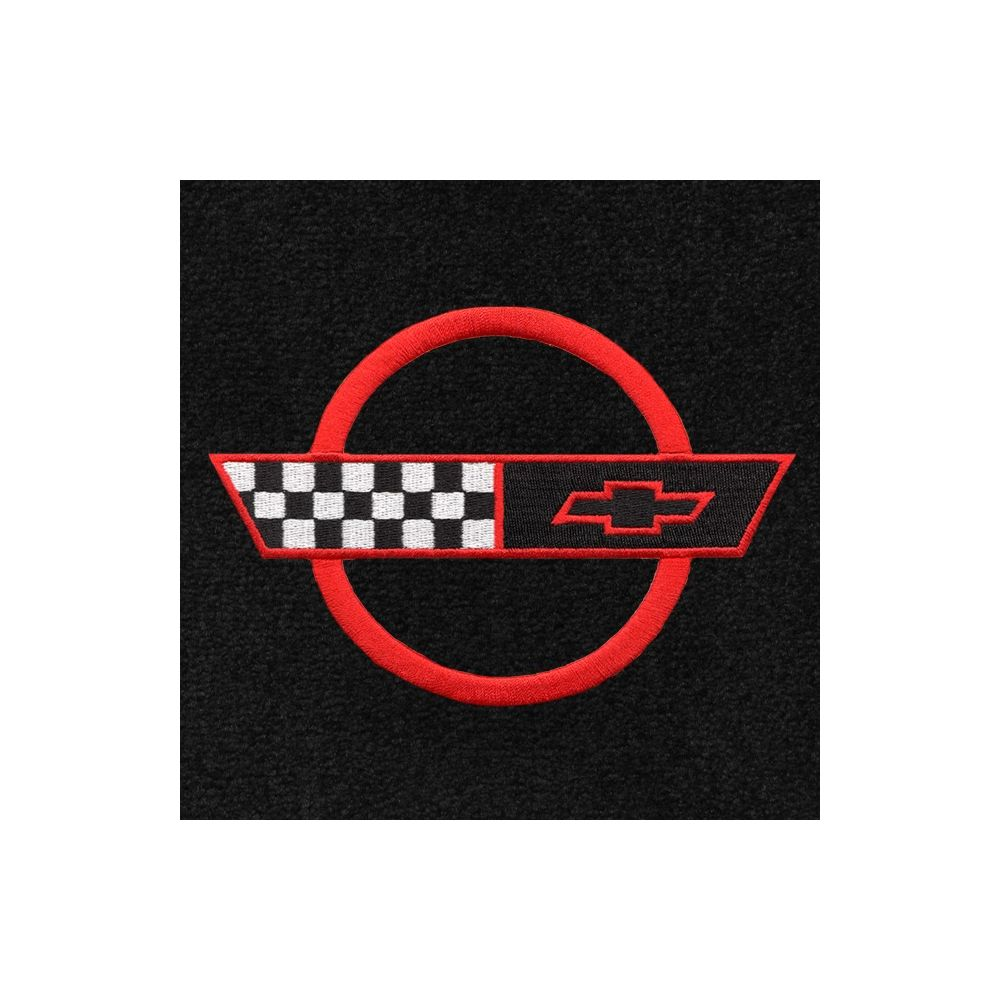 Lloyd Mats ® - Classic Loop Black Front Floor Mats For Corvette C4 91-96 with Corvette Red Applique