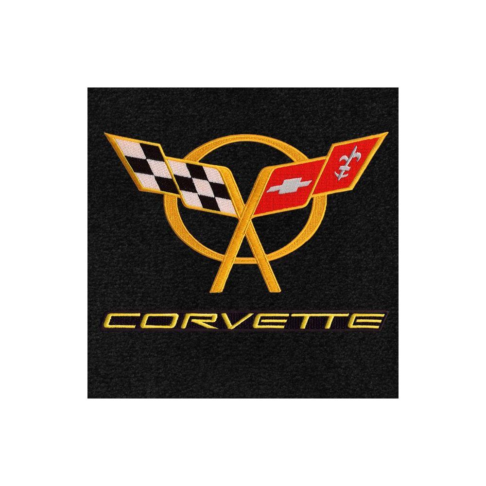 Lloyd Mats ® - Classic Loop Black Front Floor Mats For Corvette C5 with C5 Yellow Logo / Corvette Yellow on Black Applique