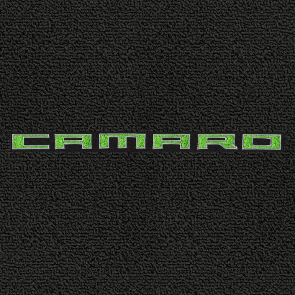 Lloyd Mats ® - Classic Loop Ebony Front Floor Mats For Chevrolet Camaro 2010-15 with Green Camaro Script