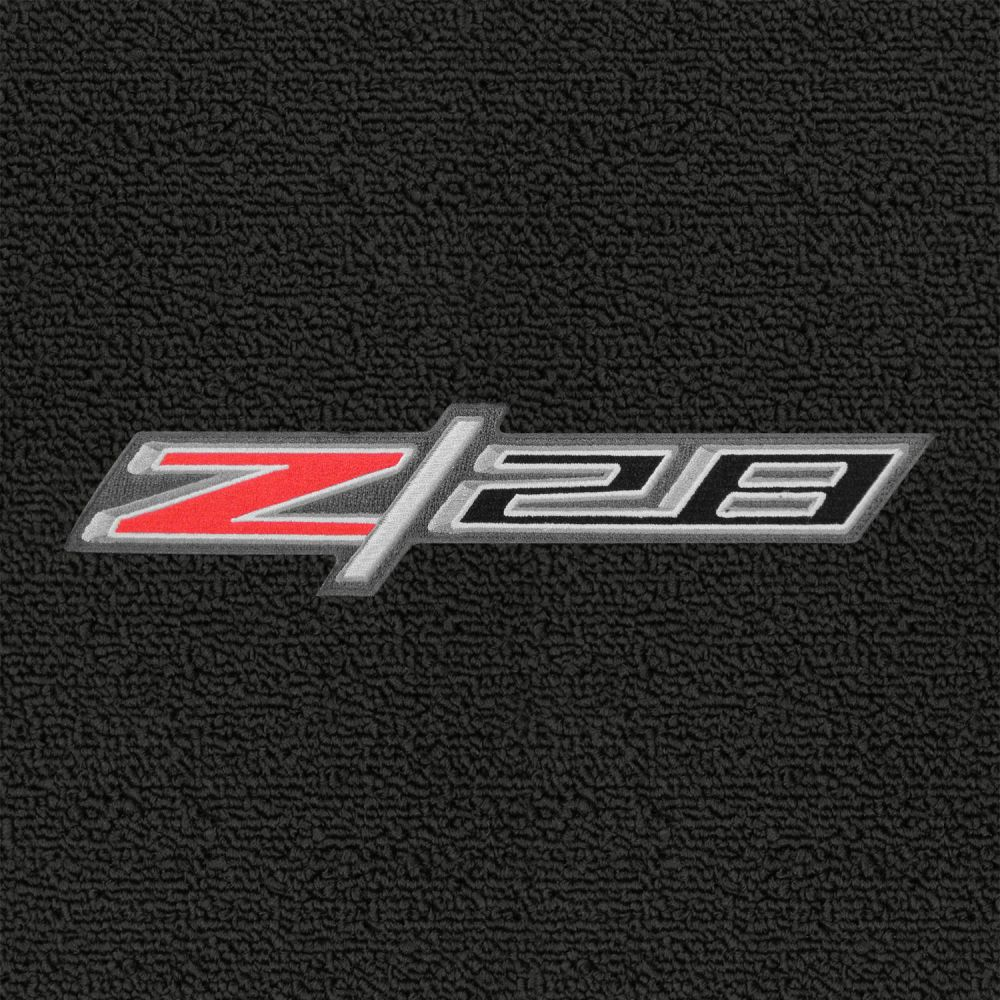 Lloyd Mats ® - Classic Loop Ebony Front Floor Mats For Chevrolet Camaro Z28 2010-15 with Z/28 Red/Silver Applique