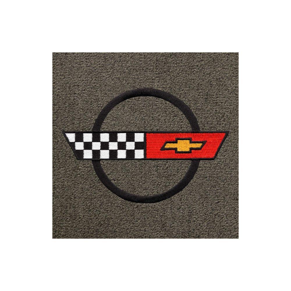 Lloyd Mats ® - Classic Loop Grey Front Floor Mats For Corvette C4 84-90 with Corvette Black Applique