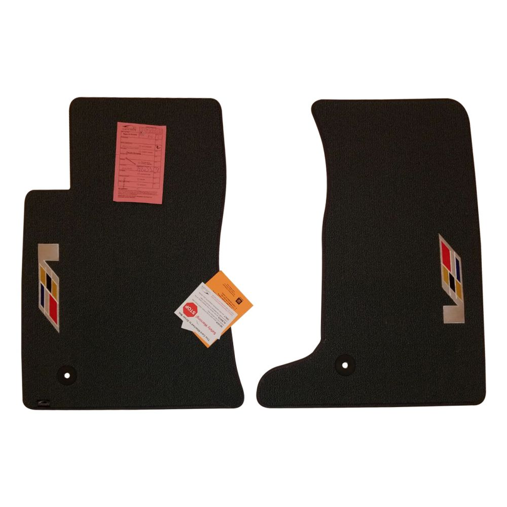 Lloyd Mats ® - Classic Loop Smoke Front Floor Mats For Cadillac CTS-V Coupe with Sideways V Series Flag Applique