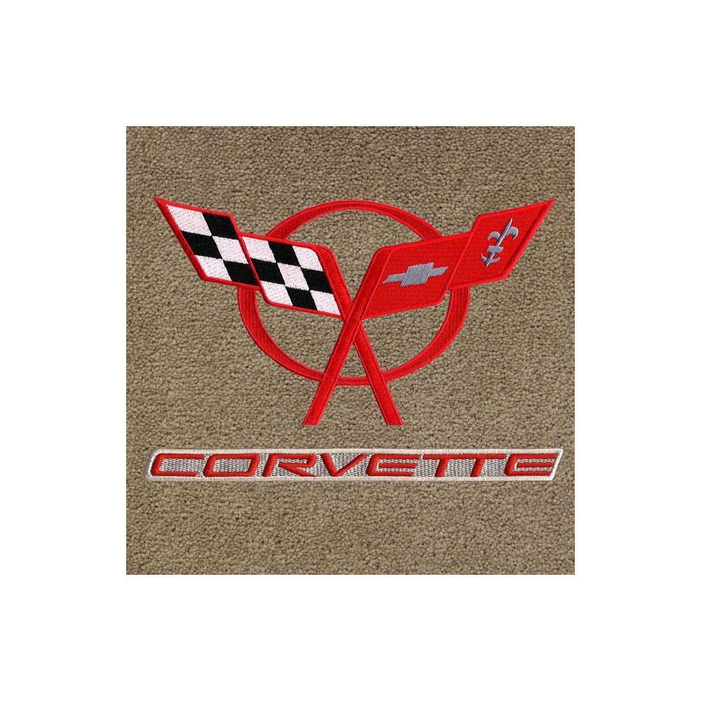 Lloyd Mats ® - Classic Loop Tan Front Floor Mats For Corvette C5 with C5 Red Logo / Corvette Red on Beige Applique