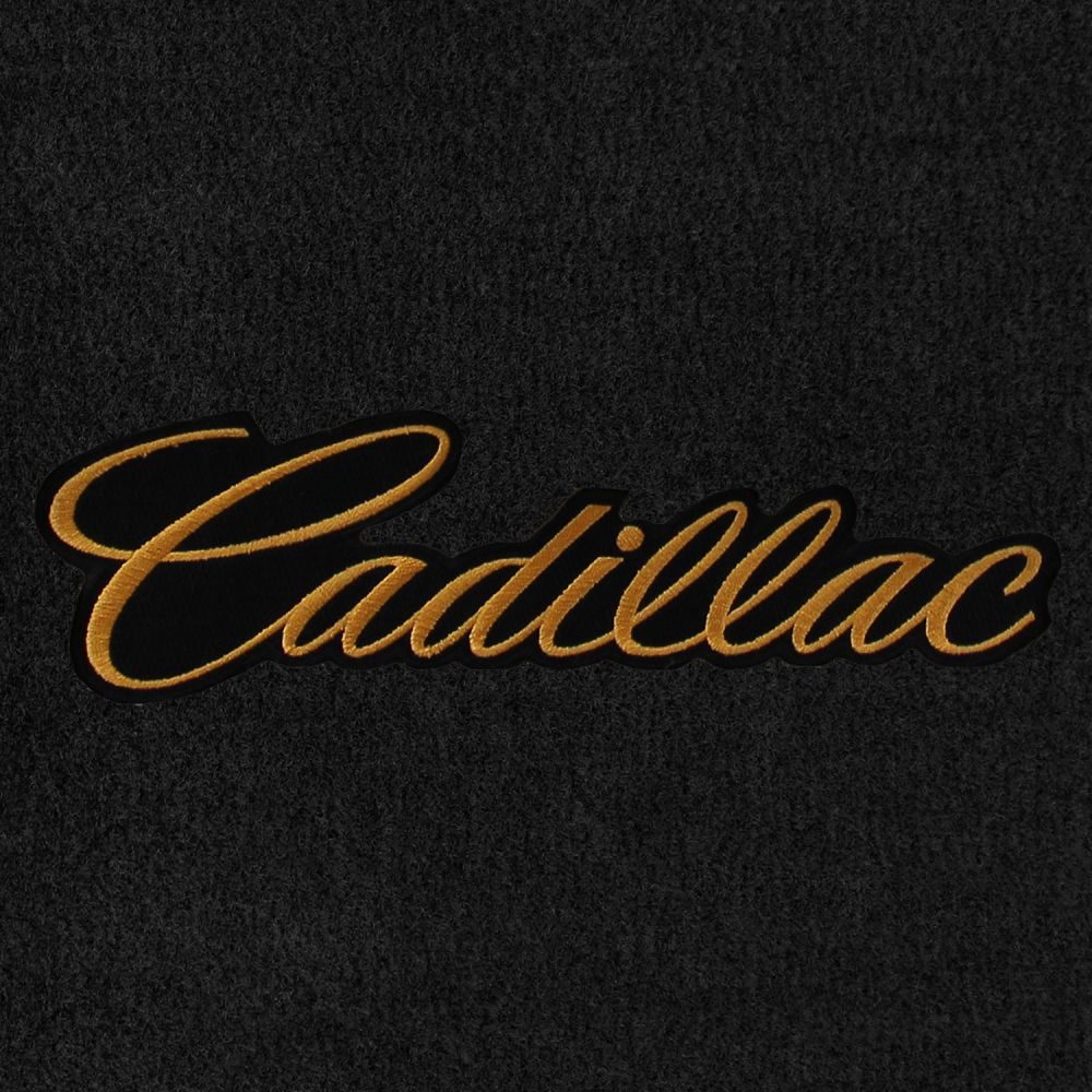 Lloyd Mats ® - Velourtex Black 1PC Front and 2PC Rear Floor Mats For Cadillac with Gold Cadillac Script Applique