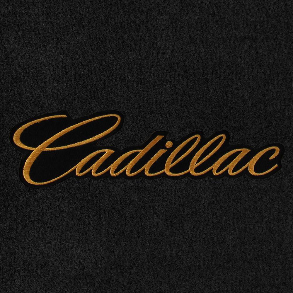 Lloyd Mats ® - Velourtex Black Standard Trunk Mat For Cadillac with Gold Cadillac Script Applique