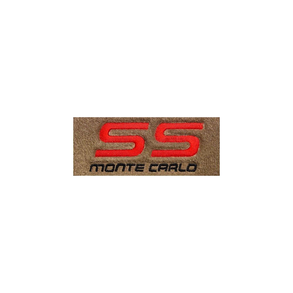 Lloyd Mats ® - Velourtex Tan Front Floor Mats For Chevrolet Monte Carlo 1983-88 with Monte Carlo and SS Red / Black Embroidery