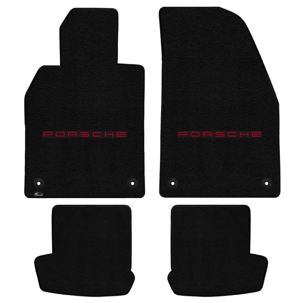 Lloyd ® - Ultimat™ Black Custom 4PC Floor Mats With Red Porsche Lettering Logo (600221)