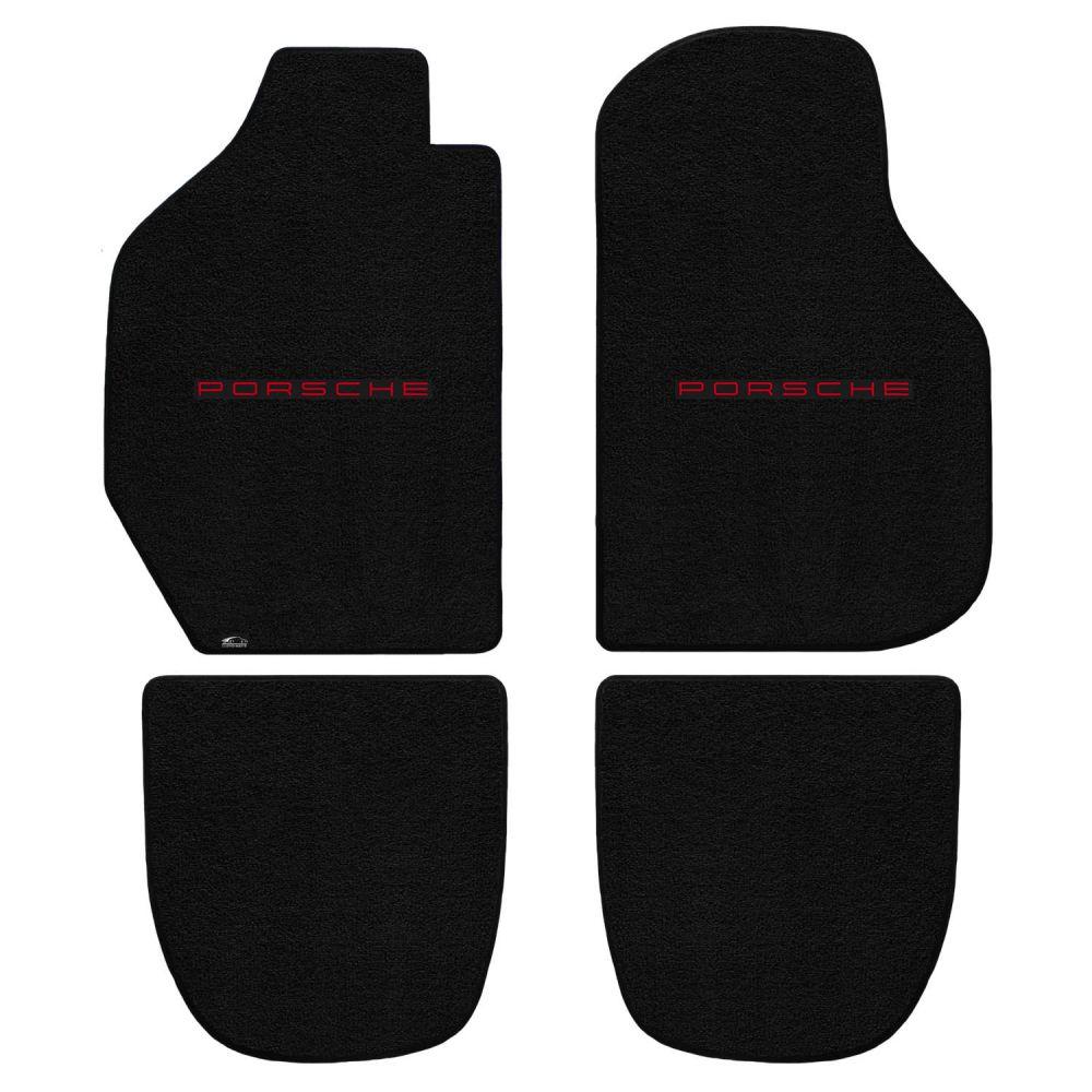 Lloyd ® - Ultimat™ Black Custom 4PC Floor Mats With Red Porsche Lettering Logo (600257)