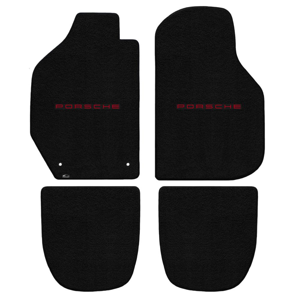 Lloyd ® - Ultimat™ Black Custom 4PC Floor Mats With Red Porsche Lettering Logo (600261)